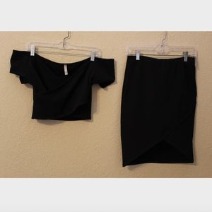 CY Black Two Piece Crop Top and Skirt Combo